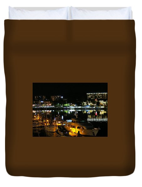 Victoria Inner Harbor At Night Duvet Cover