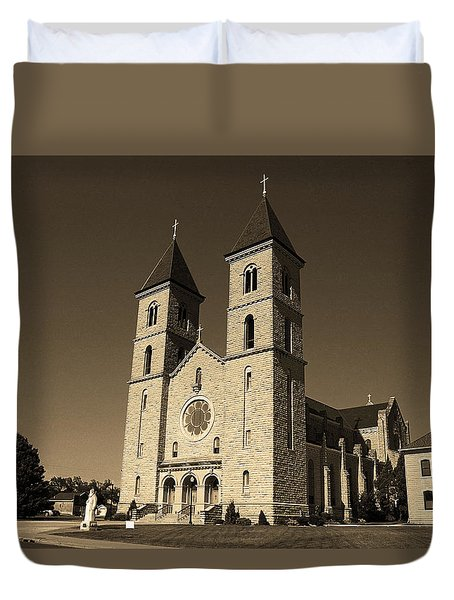 Duvet Cover featuring the photograph Victoria, Kansas - Cathedral Of The Plains Sepia 6 by Frank Romeo