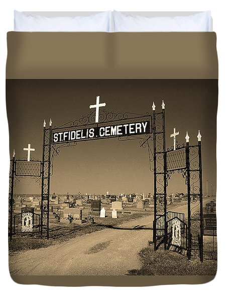 Duvet Cover featuring the photograph Victoria, Kansas - St. Fidelis Cemetery Sepia by Frank Romeo