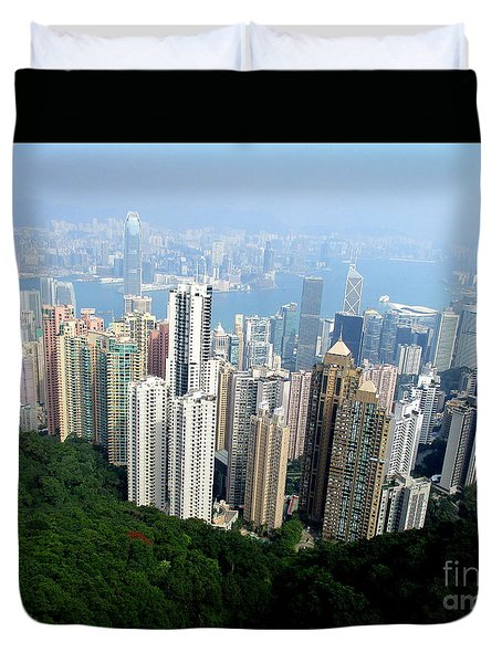 Duvet Cover featuring the photograph Victoria Peak 1 by Randall Weidner