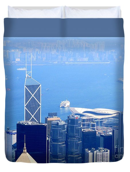 Duvet Cover featuring the photograph Victoria Peak 2 by Randall Weidner