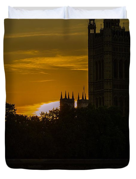 Victoria Tower In London Golden Hour Duvet Cover
