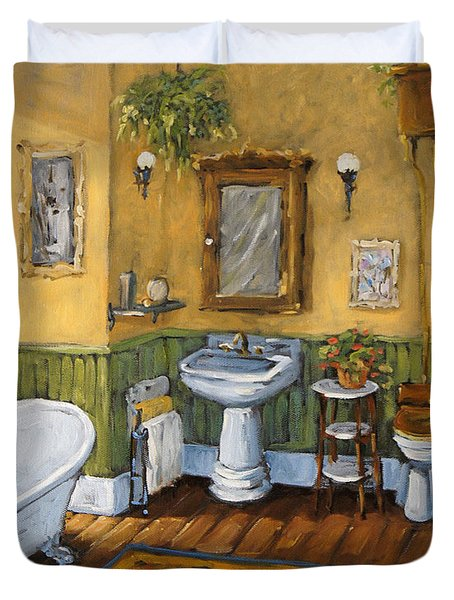 Victorian Bathroom By Prankearts Duvet Cover by Richard T Pranke
