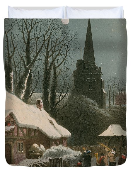 Victorian Christmas Scene With Band Playing In The Snow Duvet Cover