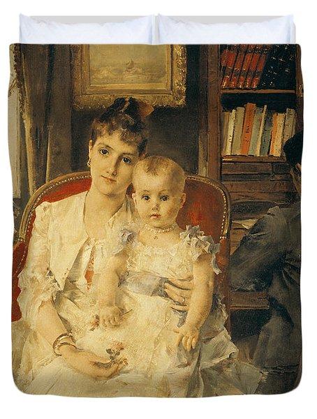 Victorian Family Scene Duvet Cover by Alfred Emile Stevens
