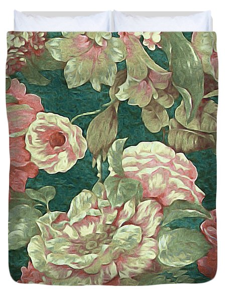 Duvet Cover featuring the mixed media Victorian Garden by Susan Maxwell Schmidt