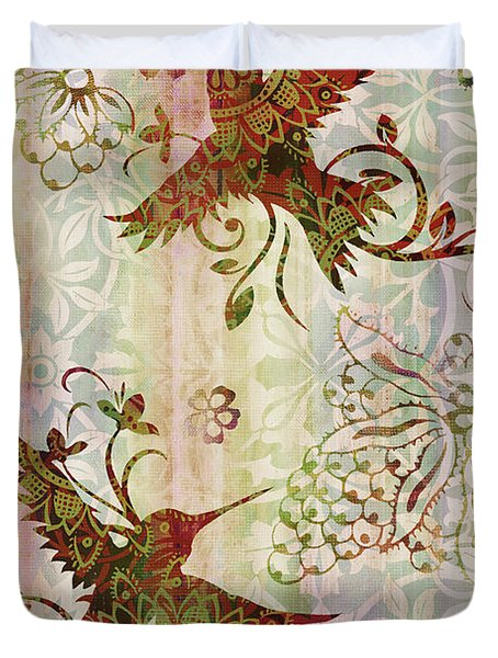 Victorian Humming Bird Pink Duvet Cover by JQ Licensing