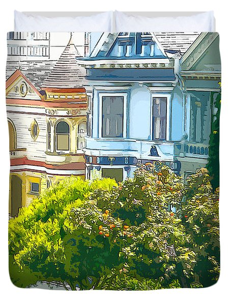 Victorian Painted Ladies Houses In San Francisco California Duvet Cover