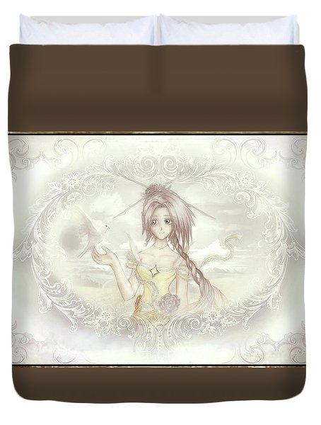 Duvet Cover featuring the mixed media Victorian Princess Altiana by Shawn Dall
