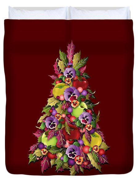 Victorian Style Holiday Tree Duvet Cover by MM Anderson
