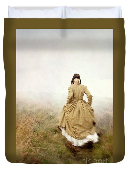 Victorian Woman Running On The Misty Moors Duvet Cover