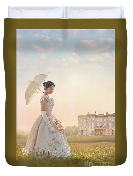 Victorian Woman With Parasol And Fan Duvet Cover by Lee Avison