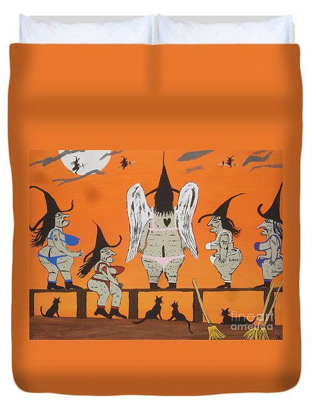 Duvet Cover featuring the painting Victoria's Secret Witches by Jeffrey Koss