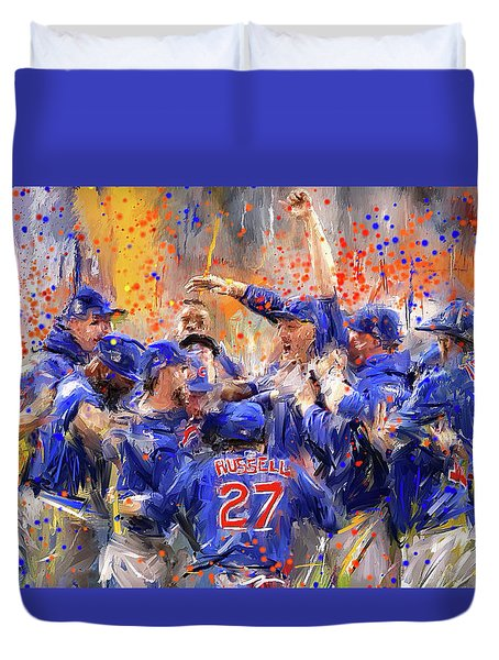 Victory At Last - Cubs 2016 World Series Champions Duvet Cover