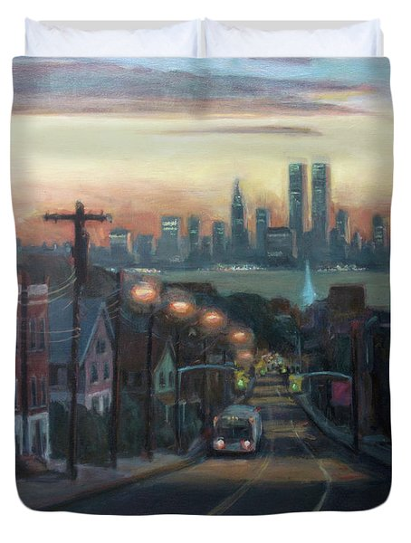 Victory Boulevard At Dawn Duvet Cover