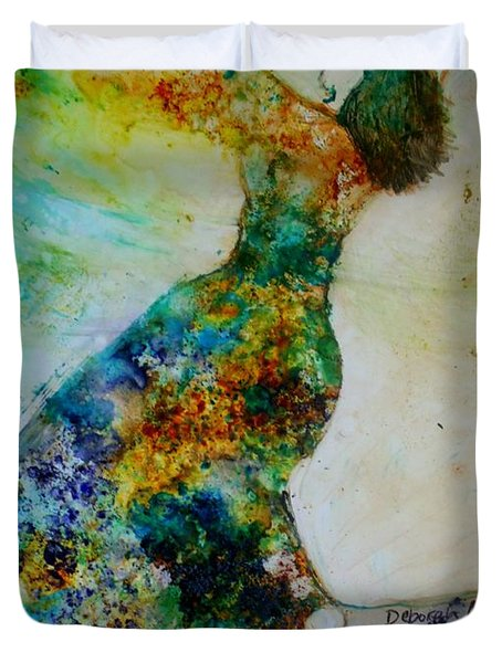 Duvet Cover featuring the painting Victory Dance by Deborah Nell