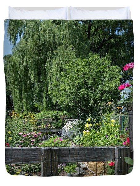 Victory Garden Lot And Willow Tree, Boston, Massachusetts  -30958 Duvet Cover
