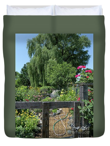 Victory Garden Lot And Willow Tree, Boston, Massachusetts  -30958 Duvet Cover