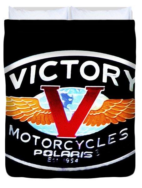 Victory Motorcycles Emblem Duvet Cover