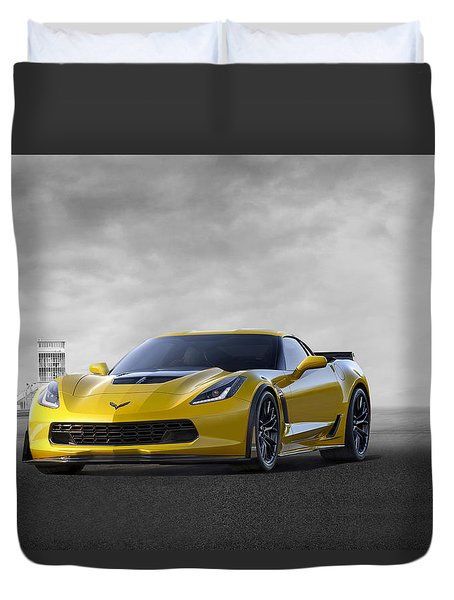 Duvet Cover featuring the digital art Victory Yellow  by Peter Chilelli