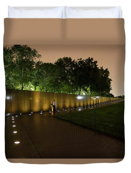 Vietnam Memorial By Night Duvet Cover