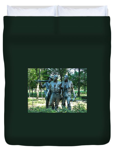 Vietnam War Memorial Statue Duvet Cover