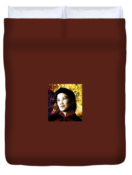 Duvet Cover featuring the painting Vietnamese Saint Bernard Vo Van Due by Suzanne Silvir