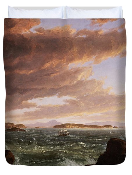 View Across Frenchman's Bay From Mt. Desert Island After A Squall Duvet Cover by Thomas Cole