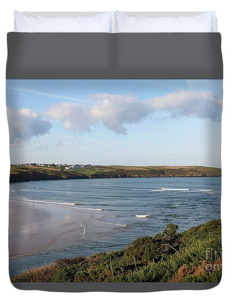 Duvet Cover featuring the photograph View Across The Gannel Estuary by Nicholas Burningham
