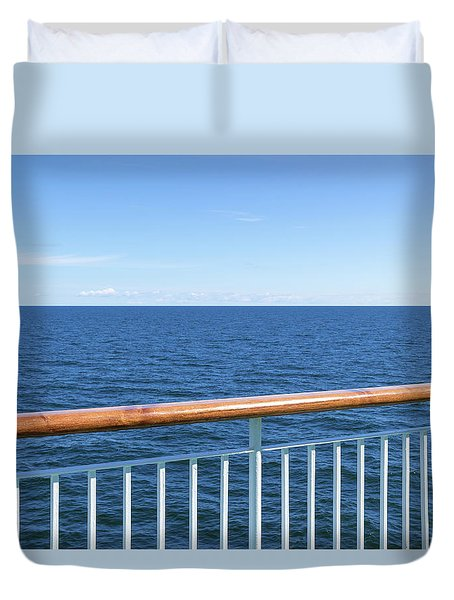 View At The Sea From Passenger Ship Duvet Cover