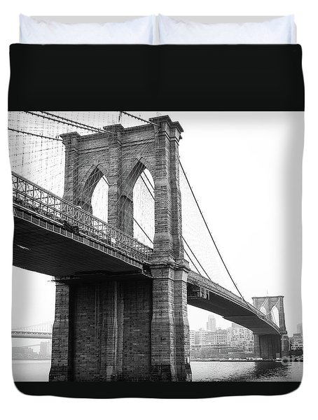 View Brooklyn Bridge With Foggy City In The Background Duvet Cover