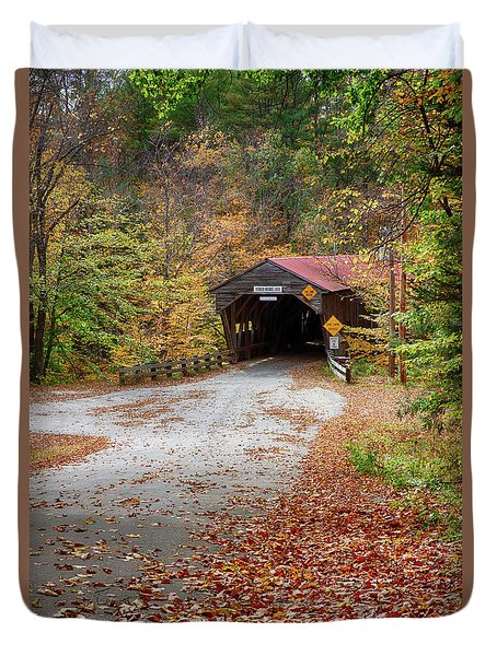View Down To The Durgin Covered Bridge Duvet Cover