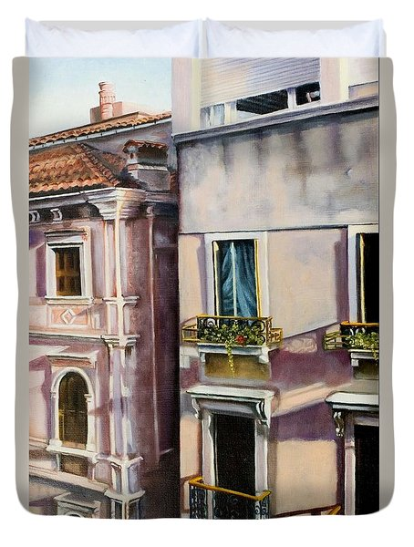 Duvet Cover featuring the painting View From A Venetian Window by Marlene Book