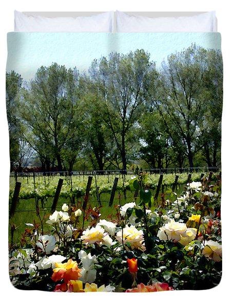 View From Bridlewood Vineyards Duvet Cover by Kurt Van Wagner