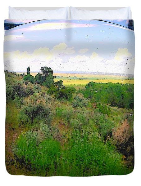 View From Cabin Window Duvet Cover by Lenore Senior