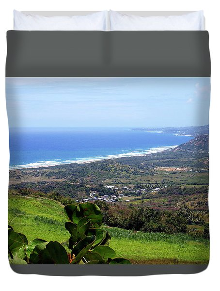 Duvet Cover featuring the photograph View From Cherry Hill, Barbados by Kurt Van Wagner