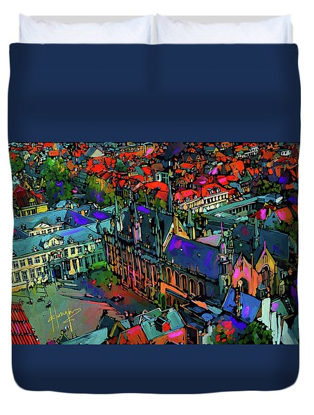 View From Clock Tower, Bruges, Blegium Duvet Cover by DC Langer
