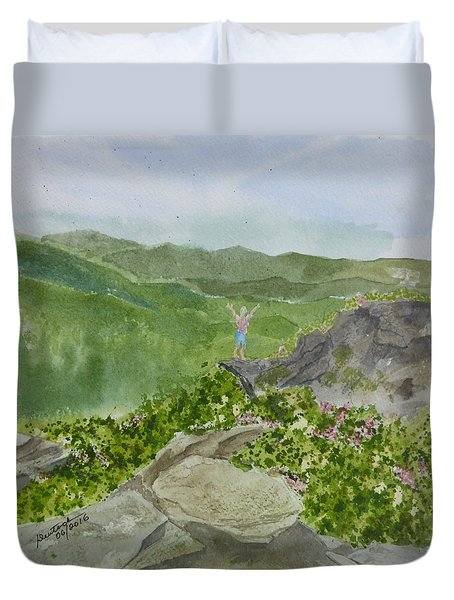 Duvet Cover featuring the painting View From Craggy Gardens - A Watercolor Sketch  by Joel Deutsch