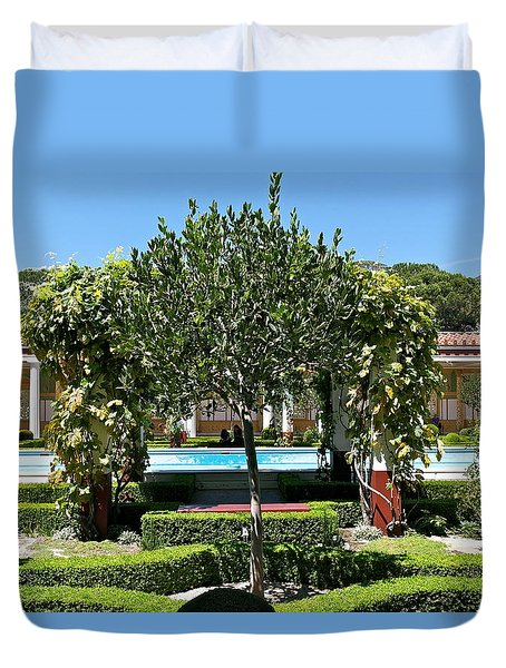 Duvet Cover featuring the photograph View From Getty Villa Peristyle Colonnade by Michele Myers