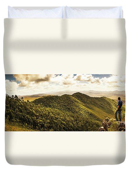 View From Halfway Up Mount Zeehan Duvet Cover