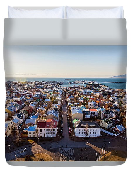 View From Hallgrimskirka Duvet Cover by Wade Courtney