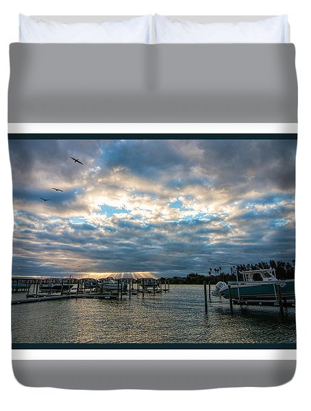 View From Marina Bay Duvet Cover
