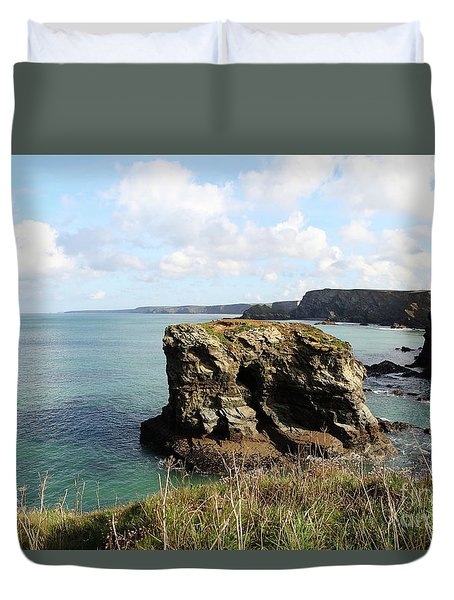 Duvet Cover featuring the photograph View From Porth Peninsula by Nicholas Burningham
