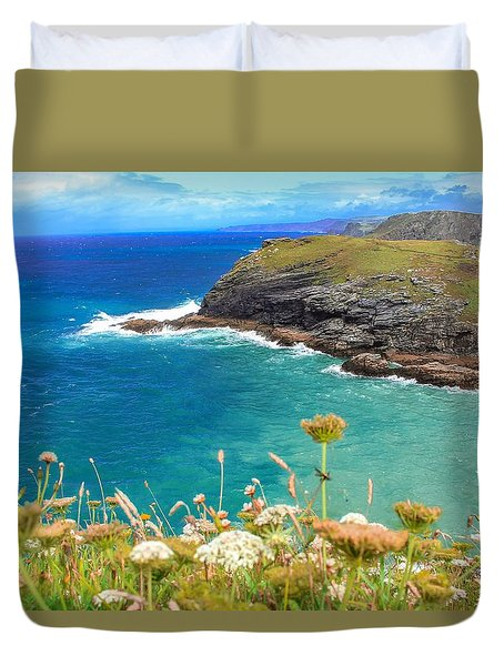 View From The Cliffs At Tintagel  Duvet Cover