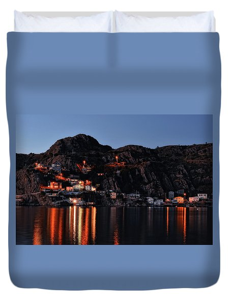 View From The Harbor St Johns Newfoundland Canada At Dusk Duvet Cover