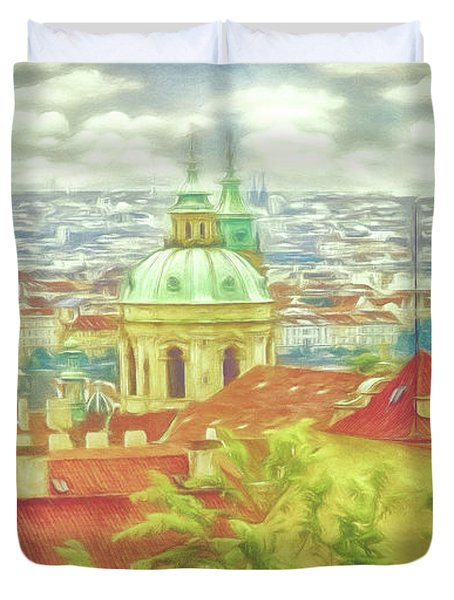 View From The High Ground - Prague  Duvet Cover