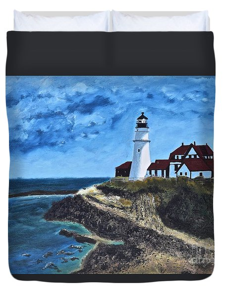 View From The North Portland Head Light Duvet Cover
