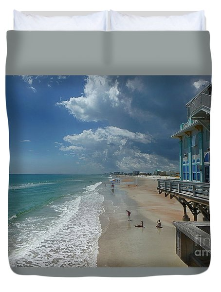 View From The Pier Duvet Cover by Judy Hall-Folde