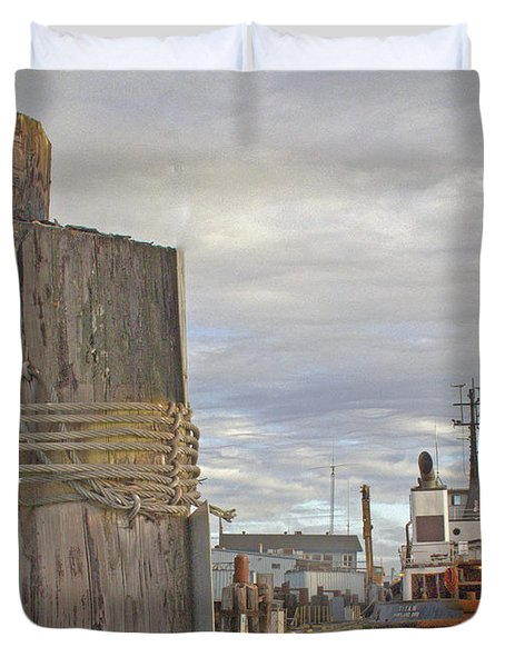 View From The Pilings Duvet Cover