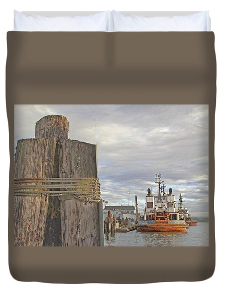 View From The Pilings Duvet Cover by Suzy Piatt